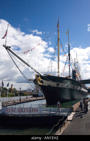 SS Great Britain the world's first large iron ship on sunny summers day with blue sky and white clouds Bristol Avon - Stock Photo
