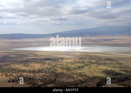 Ngorongoro Crater, Tanzania, View into from the crater rim during the dry season. - Stock Photo