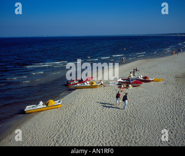 boats and people at the beach of Heringdsorf Usedom Mecklenburg Baltic Sea Germany Europe. Photo by Willy Matheisl - Stock Photo