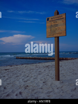 entrance sign Nationalpark Vorpommersche Boddenlandschaft,  Baltic Sea Mecklenburg Vorpommern,  West Pomerania, - Stock Photo