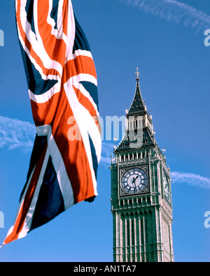 GB - LONDON: Big Ben (Elizabeth Tower) and Union Jack - Stock Photo