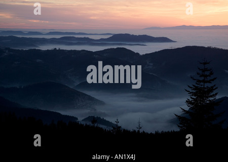 Sonnenuntergang an der Schwarzwaldhochstrasse Blick von der Hornissgrinde Schwarzwald deutschland germany europe - Stock Photo