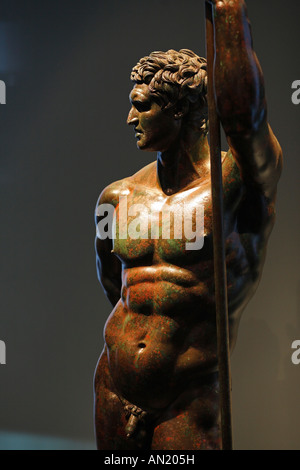 The bronze statue of a Hellenistic prince , Palazzo Massimo alle Terme, Rome, Italy - Stock Photo