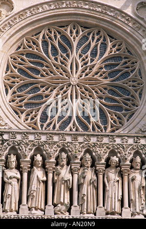 France, Somme, Amiens, Amiens Cathedral, Detail of the Kings Gallery Sculptures Stock Photo