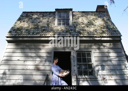 Raleigh North Carolina Mordecai Historic Park US President Andrew Johnson birth home guide period costume - Stock Photo