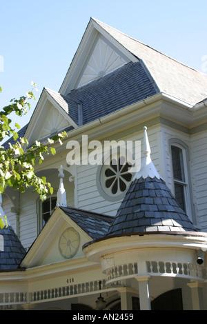 Raleigh North Carolina historic Oakwood community Victorian style home - Stock Photo