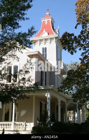 Raleigh North Carolina historic Oakwood community Oakwood Inn Victorian style home - Stock Photo