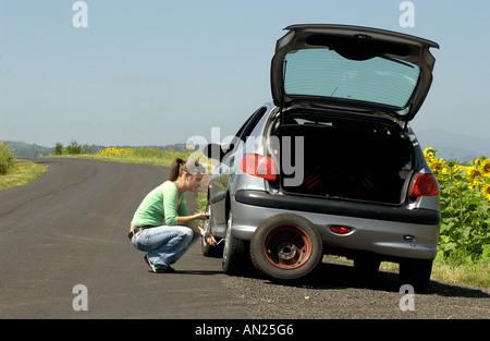 broken down car - Stock Photo
