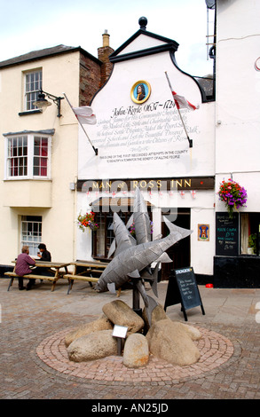 Man of Ross Inn with Leaping Salmon sculpture by Polish sculptor Walenty Pytel in Ross on Wye Herefordshire England - Stock Photo