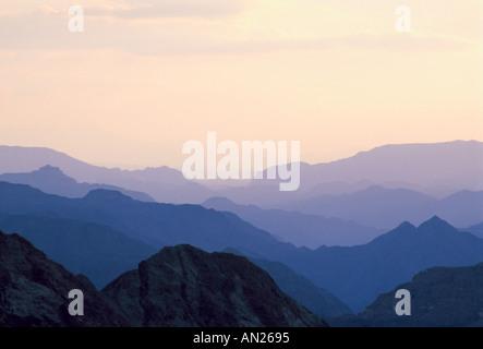 Backlit mountains near Nuweiba Sinai - Stock Photo