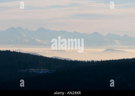 Blick vom Schauinslandaussichtsturm im Schwarzwald auf die Schweizer Alpen Deutschland Germany Look to the swiss - Stock Photo