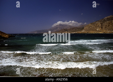 Karpathos Rollers and Tidal Surge Beach Greek Dodecanes Island Greece - Stock Photo