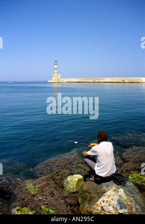 Fishing in the Habor Harbour Chania Hania Xania Crete Greece EU European Union Europe - Stock Photo