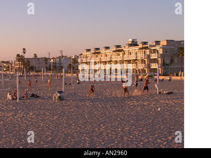 California Hermosa Beach late afternoon beach volleyball players - Stock Photo
