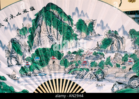 Souvenir Chinese Fans with Typical Scenery, Yangshou, Guangxi Province, China - Stock Photo