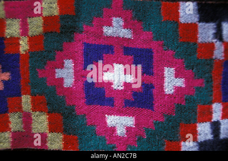 Woven wool textile with Geometric motifs from Himachal Pradesh Indian Himalayas India - Stock Photo