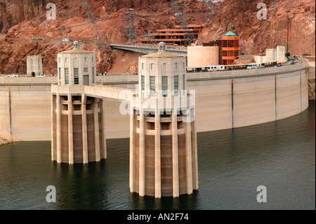 Hover Dam and Lake Mead from Arizona looking towards Nevada - Stock Photo
