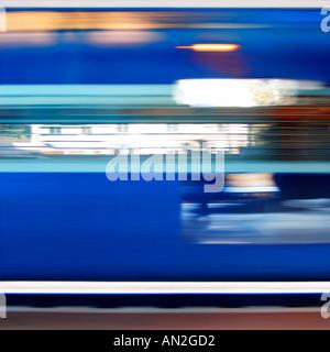 Train journey india Yve Klein blue - Stock Photo