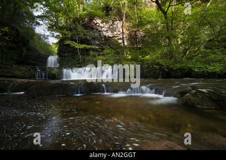 Wide angle view of cascading waterfall in the Brecon Beacons National Park of Wales, United Kingdom - Stock Photo