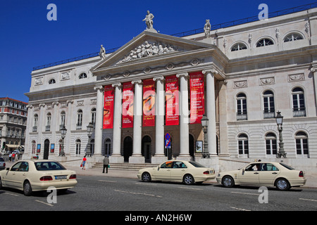 Lisbon, Baixa, Rossio, Teatro Nacional De Dona Maria Ii - Stock Photo