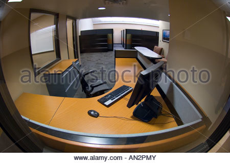 New Office furniture installed in newly constructed police station Tucson Arizona. Secretaries or receptionists - Stock Photo