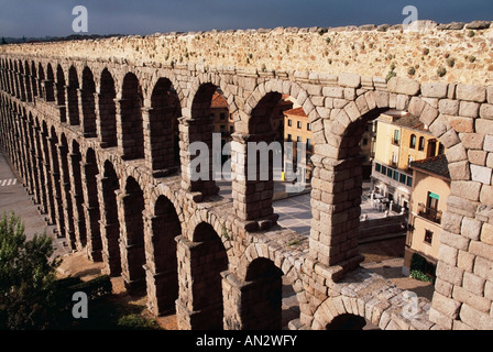 Roman Aqueduct, Segovia, Castile and Leon, Spain - Stock Photo
