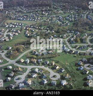 Aerial View Of Houses In Culdesac Suburban Neighborhood - Stock Photo