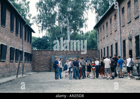 Auschwitz, now a state museum; beyond the tourists is the camp's Wall of Death, a place of floggings and executions - Stock Photo