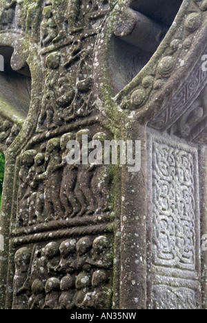 Closeup of the Cross of Muiredach a famous 10th century wheel head cross at Monasterboice, County Louth, Ireland - Stock Photo
