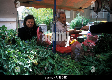 Fruit And Vegetable Market Stall In Kolonaki Athens - Stock Photo