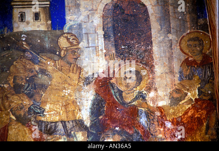 Mural depicting the martyrdom of St Demetrios - Stock Photo