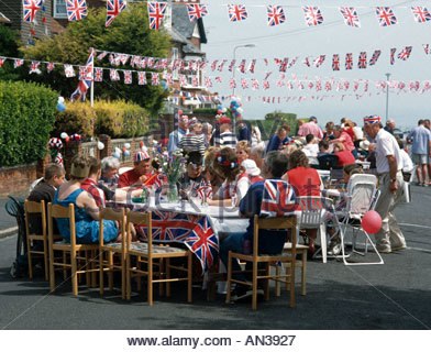 Queen Elizabeth II Golden Jubilee street party Broadstairs Kent UK June 2002 - Stock Photo