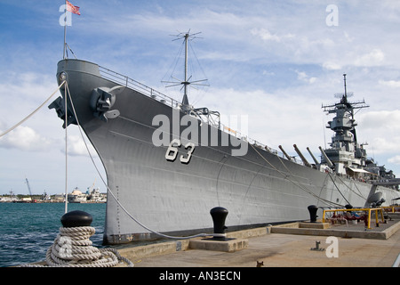 Battleship Missouri where Japanese surrender that ended World War II took place Now docked at Pearl Harbor Oahu - Stock Photo