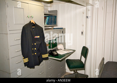 Doctor quarters aboard Battleship Missouri where Japanese surrender that ended World War II took place - Stock Photo