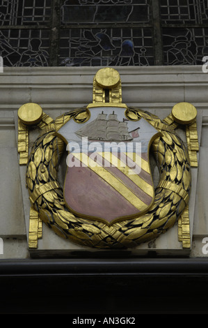 coat of arms  concilio et labore crest badge design red blue gold ship central reference library town hall manchester - Stock Photo