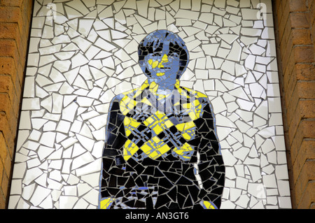 mark e smith the fall legend rocker singer groups band alternative yellow male  man white black tiles wall biblical - Stock Photo