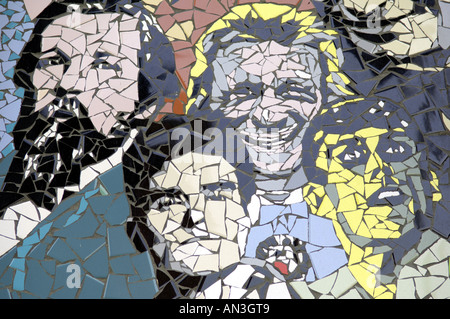 morrisey bez happy mondays groups bands the smoths black grape characters celebs celebrities wall mosaic manchester - Stock Photo