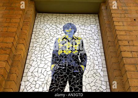 wall mosaic manchester legends singer the fall mark e smith alternative rocker colourful pop culture manchester - Stock Photo