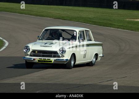 Lotus Cortina Racing Goodwood Sussex UK - Stock Photo