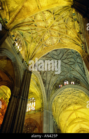 Vaulted ceiling of Seville Cathedral - Stock Photo