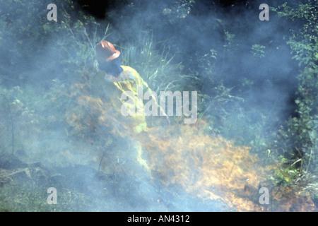 Volunteer Rural Fire Service Firefighter at a bushfire, Australia. - Stock Photo