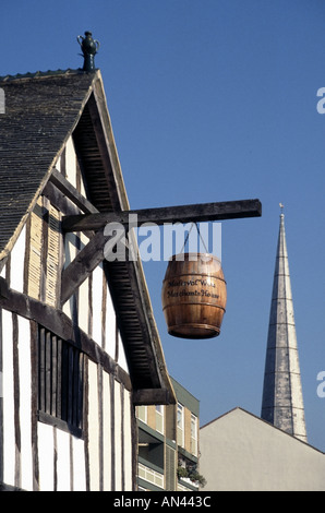 City of Southampton part of timber framed residence one of the earliest surviving merchants houses in England - Stock Photo