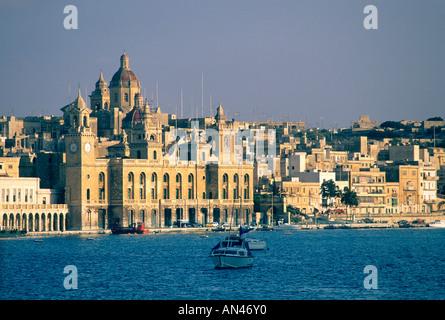 Valletta, Malta - skyline and harbour at dusk - Stock Photo