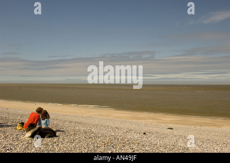 Couple seal watching in the Bay of the Somme France - Stock Photo