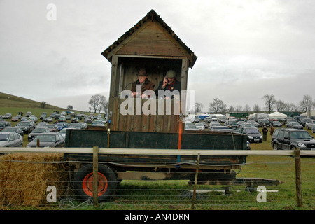 pic martin phelps 14 01 06 barbury castle point to point commentary box - Stock Photo