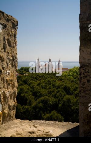 São Jorge Castle Battlements and Igreja da São Vicente de Fora - Stock Photo