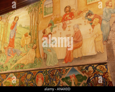 Clayworth St Peters Church interior wall showing painted mural by renowned Scottish artist Phoebe Anna Traquair. - Stock Photo