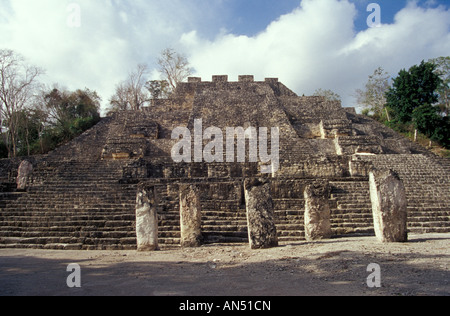 Structure II the Great Pyramid at the Mayan ruins of Calakmul, Campeche, Mexico - Stock Photo