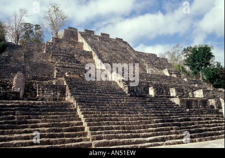 Structure II, the Great Pyramid at the Mayan ruins of Calakmul, Campeche, Mexico - Stock Photo