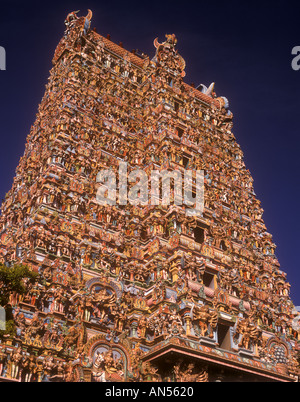 India Tamil Nadu Madurai Minakshi Temple West Tower - Stock Photo